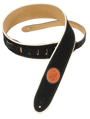 Levy's Leathers Suede Leather Guitar Strap with Cream Piping,Black