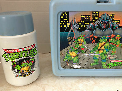1980's Mirage Teenage Mutant Ninja Turtles Plastic Lunch Box With Thermos