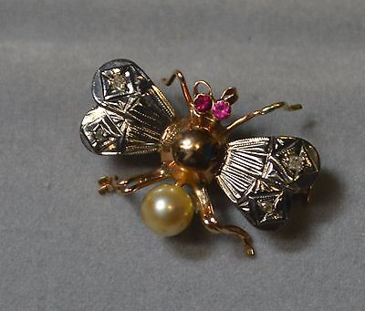 Diamond, Ruby & Pearl Insect Brooch