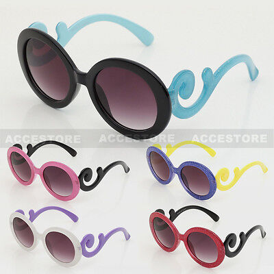 Kids Baby Designer Sunglasses Inspired Round Baroque Swirl Arms Toddler Frame UV