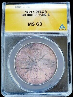 1887 Silver Great Britain Double Florin Arabic 1 Date Coin Anacs Mint State 63
