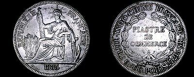 1885-A French Indo-China 1 Piastre World Silver Coin - Vietnam