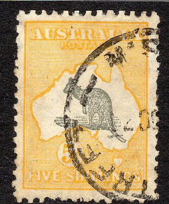 1913, Pre Decimal, 5/- Grey&Yellow Roo,Small Watermark,Used,C&S,#1766