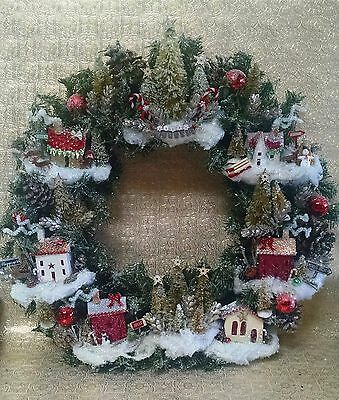MADE TO ORDER Vintage Wreath Christmas Putz Village Houses Cardboard Houses
