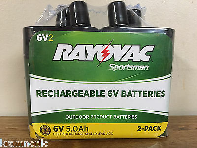 Lot Of 2 Rayovac La6V-2 Sportsman Rechargeable 6V Lantern Batteries Game Feeders
