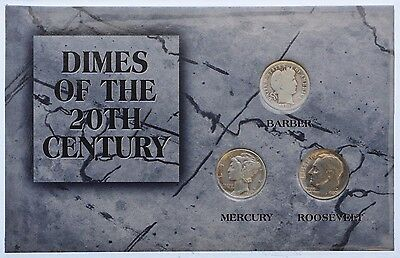 Morgan Mint Dimes of the 20th Century Coin Collection 1914 1944 1980 Barber Dime