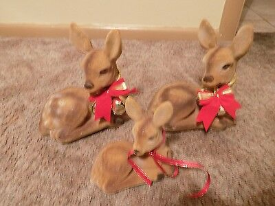 Lot 3 flocked deer with ribbons and jingle bells 2 large doe 1 small fawn