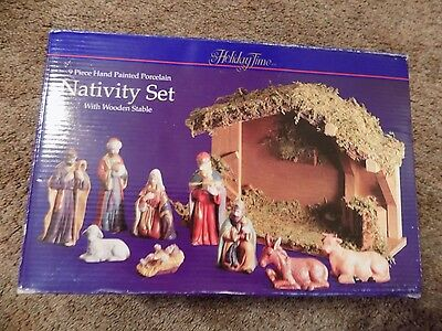 Holiday Time 9 piece Hand Painted Porcelain Nativity set with wooden stable