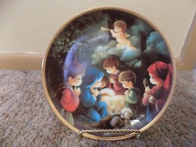 Come let Us Adore Him Precious Moments Bible Story Plate Collection & holder
