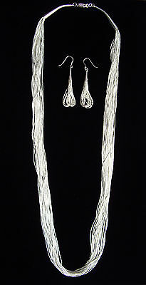 """Handcrafted 25 Strand Liquid Silver (.925) Necklace/Earrings Set - 29"""" *NEW*"""