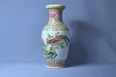 Fine old Chinese hand painted flower famille vase with phenix marked
