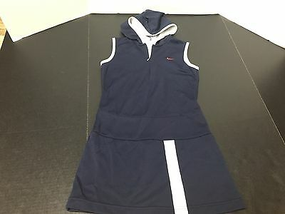 Nike Girl's Navy Blue And White Athletic Tennis Dress Hooded Size Medium 10-12