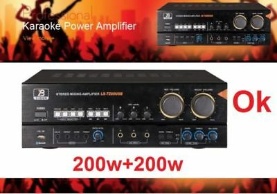 NEW_200Wx2 PROFESSIONAL KARAOKE AUDIO MIXING AMP USB & BLUETOOTH LIGHT AMP