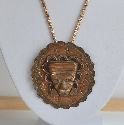 VINTAGE HANDMADE TRIBAL MEXICAN REPOUSSE BRASS & COPPER Maya MAN FACE PENDANT