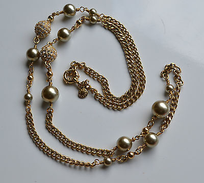 Vtg Haute Couture Signed J. Crew Necklace Goldtone Metal Faux Pearl Rhinestones