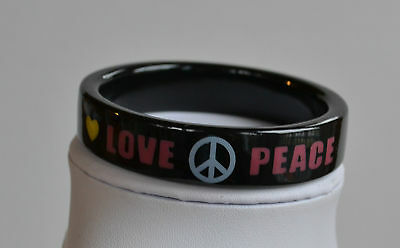 BLACK PLASTIC BANGLE BRACELET peace & love signs & words PINK WHITE YELLOW