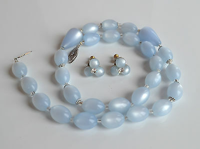 rare vintage 60's set baby blue moonglow lucite necklace & earrings rhinestones