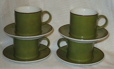 Vintage Green and White glaze porcelain Kelco cups and saucers set of 4 Japan