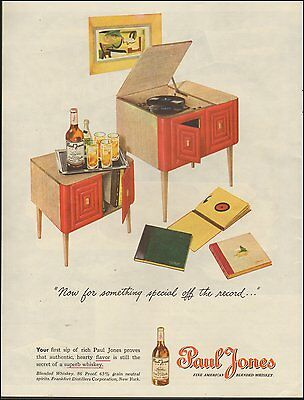 1945 vintage AD PAUL JONES Blended Whiskey  40s Phonograph 78rp Records 051415