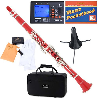 Mendini ABS B-Flat Clarinet, Red and Tuner, Case, Stand, Pocketbook - MCT-R+SD+P