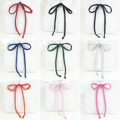 Women Lady Girl Solid Satin Self-tied Bowtie School Student Elegant Ribbon Tie