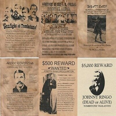 6 Old West Wanted Posters Wanted Wyatt Earp Doc Holliday Ok Corral Tombstone