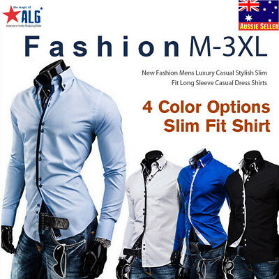 New Stylish Mens Slim Fit Casual Double Collar Shirt Top Long Sleeve M-3XL DC12