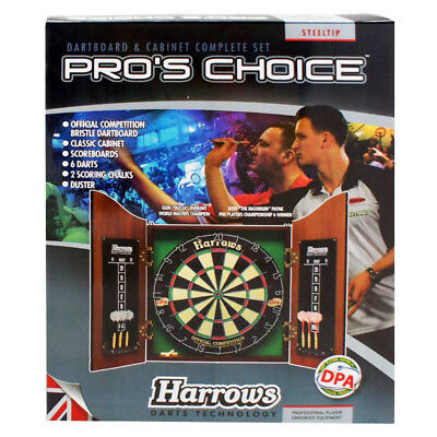 Harrows Pros Choice Dartboard & Cabinet Complete Set Darts Pool Room Outdoor NEW