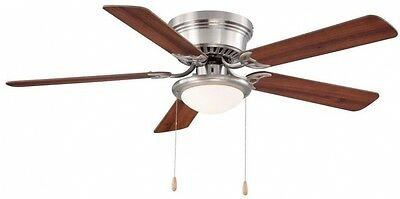 Ceiling Fan with Light 52 Inch Brushed Nickel Pull Chain Indoor Electric LED