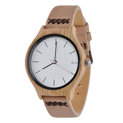 ZLYC Women's Watches Natural Wood Round Dial Simple Watch Leather Strap Casual W