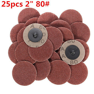 2'' Roll Lock Sanding Discs Type R For Abrasive W/ Mandrel 25pcs 80 Grit