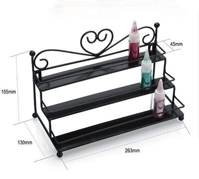 BLACK Nail Polish Display Stand Table Counter Top Wrought Iron Metal Gel stand