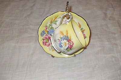 Royal Albert Yellow background Pretty flowers Cup and Saucer   bone china