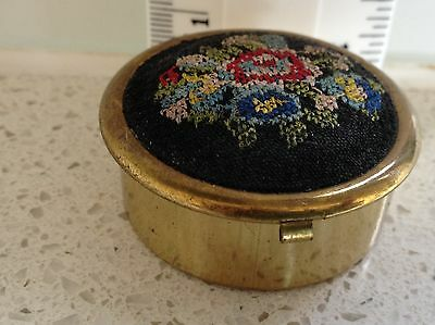 Pill Box - With Petit Point Top - Brass Base - Plastic Insert - Vintage/antique