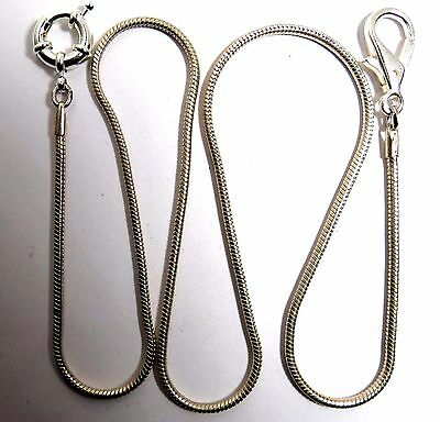 "Pocket Watch Or Knife Silver Tone Fob Snake Clasp Chain 26"" Long .."