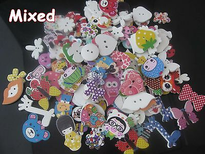Mixed buttons 30pcs 2 holes printed white wood buttons children accessories