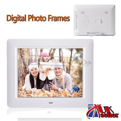 HD Digital Photo Frame Video Picture MP4 Player Alarm Clock +Remote 8 inch UK