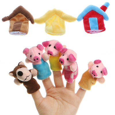 8Pcs Kids Baby Three Little Pigs Finger Puppets Educational Hand Story Toys