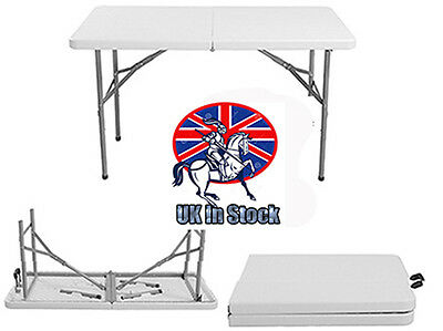 4Ft Heavy Duty Plastic & Folding Table Outdoor Banquet Trestle Party Garden Bbq