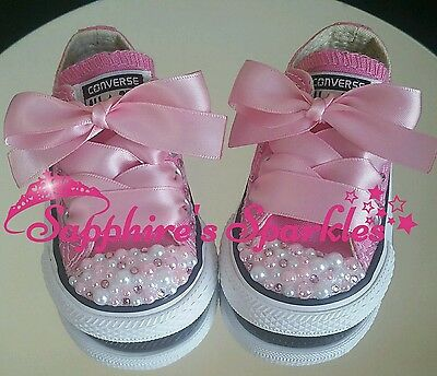Customised Infants Pink White Pearl Pink Converse Size 2 3 4 5 6 7 8 9 10