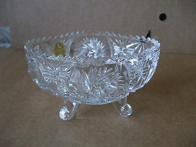 Vintage Retro West German Lead Crystal Cut Glass Footed Sugar Bowl