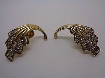 Vintage Rhinestone & Gold Tone Clip On Earrings Large Stylised Comit Party Prom
