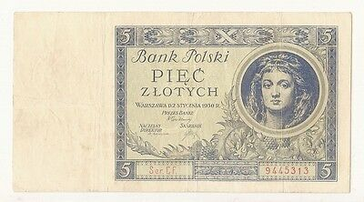 Poland 5 Zlotych Banknote 1930 Serial Cf. 9445313 / Look Scans