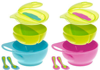 Brother Max Weaning Bowl Set Baby/Toddler Travel Feeding Spoons Blue/Pink BNIB