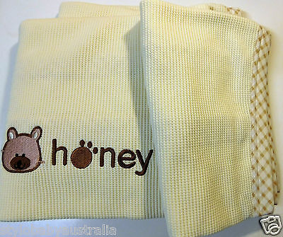 New Beautiful Embroidered Honey Waffle Blanket