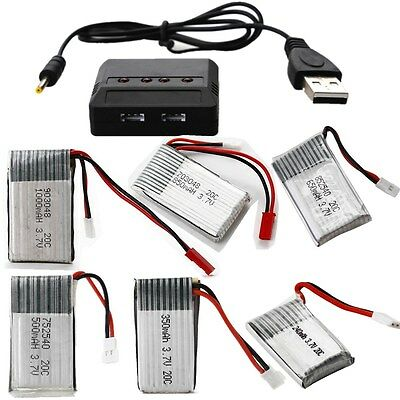 3.7V 20C 240/350/500/650/850/1000mAh LiPo battery OR 4in1 Battery Charger For RC