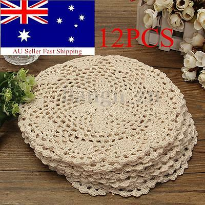 12pcs 20cm Vintage Beige Cotton Doilies Hand Crochet Coasters Lace Applique