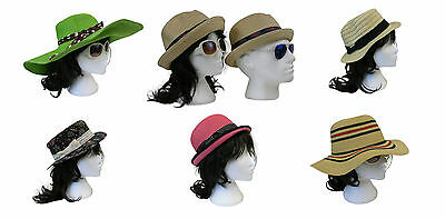 Job Lot Wholesale 20 Mixed Ladies Vintage Retro Style Boater Straw Sun Hats