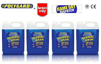 4x 5L Polygard Arctic Screenwash Concentrated Concentrate 20 Litre Screen Wash