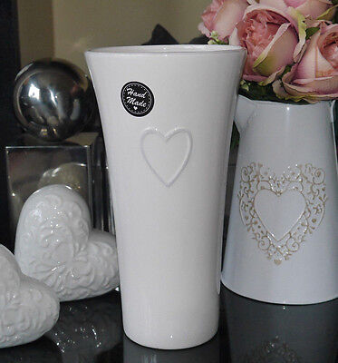 Shabby Chic Hand Made White Shaped Vase With Embossed Heart Detail 27cm